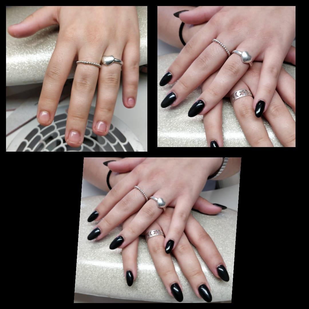 ongles courts noir chablons rallongement gel instantanails montpeller juvignac